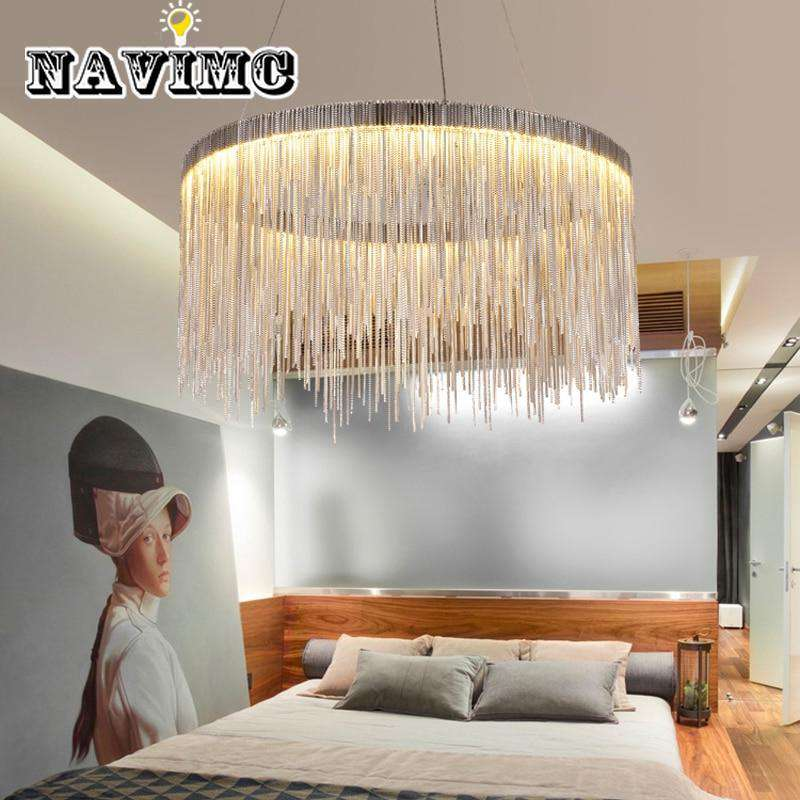 Italian Design Silver Art Chandelier Engineering Luxury Tassel Aluminum Chain LED Beautiful Lighting - Gustobene
