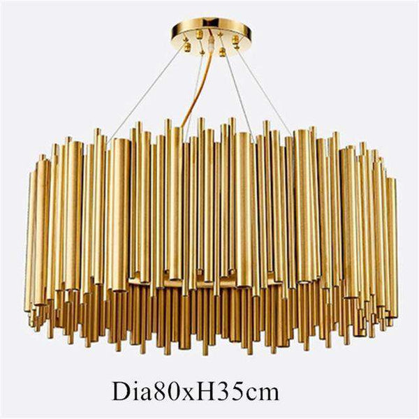 Italian Metal Tube Oval Round Creative Design Chandelier for Restaurant Kitchen Decorative Lighting in Gold Color - Gustobene