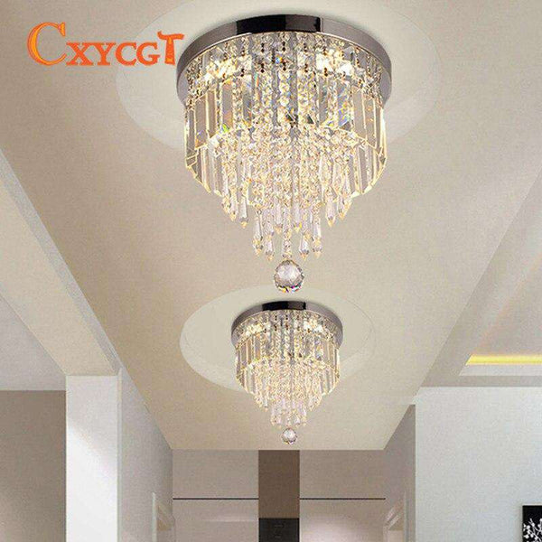 Italian Light Luxury Round Clear Crystal Ceiling Lamp for Corridor Lighting Bedroom Decoration - Gustobene