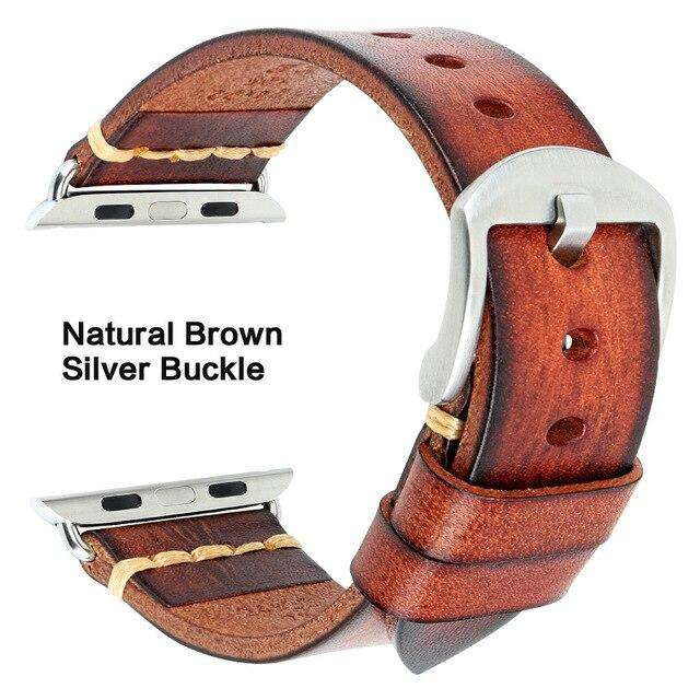 Handmade Italian Cow Leather Strap Watch Band For Apple Watch 44mm 40mm 42mm 38mm Series 5 4 3 2 iWatch Watchbands - Gustobene