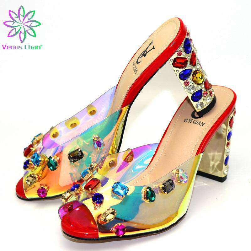 2019 New Red Color Italian Shoes With Matching Bags African Women High Heels Shoes and Bags Set For Prom Party Summer Sandal - Gustobene