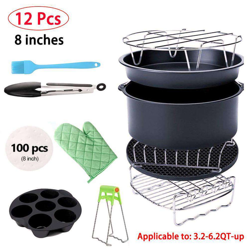 12Pcs High Quality Air Fryer Accessories 8 Inch Fit all Airfryer Suit For 3.2qt to 5.8qt Up Health Fryer Pizza Cooker Kitchen - Gustobene