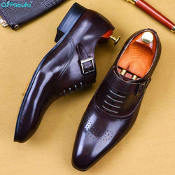 QYFCIOUFU 2019 Mens Italian Dress Shoes Genuine Leather Handmade  Men Monk Shoe Office Formal Wedding Party Mens Oxford Shoes