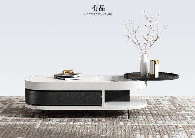 Modern combination tea table Italian simple square high and low tea table modern paint living room small table small apartment. - Gustobene