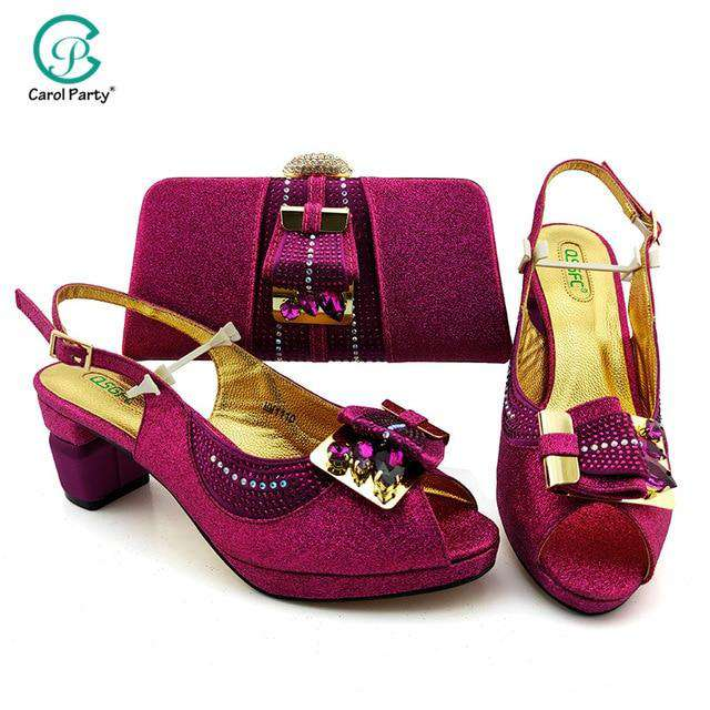 2020 New Arrival Italian design Shoes with Matching Bags for Wedding Wine Color Nigerian Women Wedding Shoes and Bag Set - Gustobene