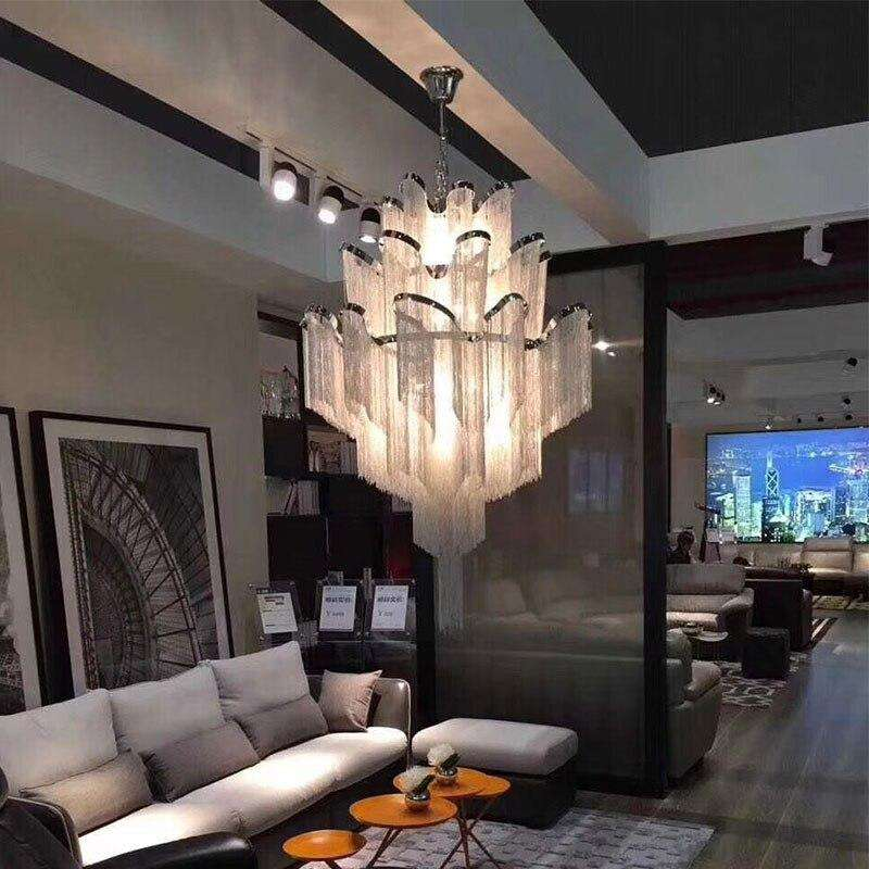 Italian Design Silver Art chandelier Engineering Design Luxury Chain Tassel Aluminum Chain LED Beautiful chandelier Lighting