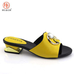 New Arrival Italian Nigerian Party Shoes Without Bag Set Yellow Color Fashion Slipper Wedding African Shoes Not Matching Bag Set