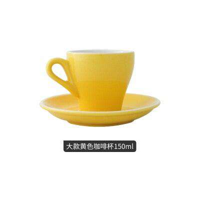 Espresso cup Italian small ceramic latte cappuccino cup saucer set single mini espresso coffee shop cafe drinkware - Gustobene