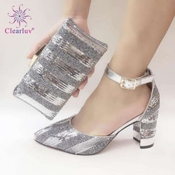 Sliver shining crystal Italian shoes with matching bag lady matching shoe and bag Sets Italy African shoes and bag set for party