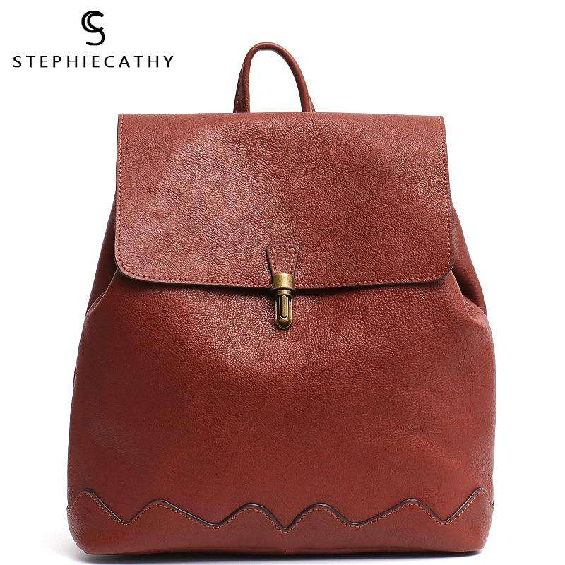SC High Quality Italian Cow Leather Backpack For Women Fashion Girls School Bags Leather Flap Metal Lock Large Shoulder knapsack - Gustobene