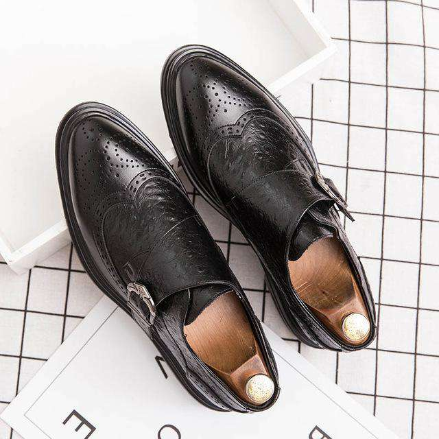 Modern Italian Buckle Strap Formal Shoes - Gustobene