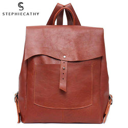 SC Women Italian Leather Backpack Vintage Retro Style Flap Buckle Large Shoulder Bags School Life Travel Holiday Knapsacks - Gustobene