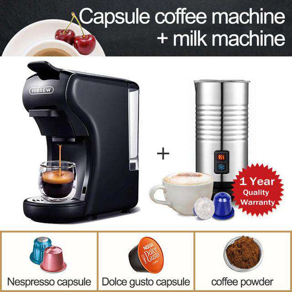 HiBREW Capsule Coffee Machine Full Automatic With Hot & Cold Milk Foaming Machine - Gustobene