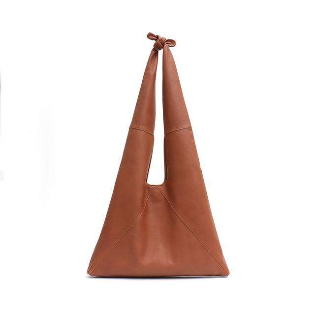 SC Knotted Handle Cow Leather Hobo Bag Femal High Quality Luxury Design Brand Genuine Italian Leather Big Women Shoulder Bags - Gustobene