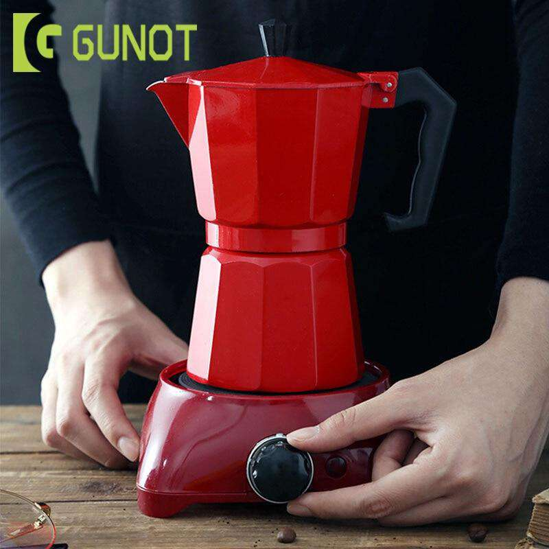 GUNOT Aluminum Moka Pot Maker Matte Textured Coffee Pot Heatable Italian Coffee Maker Espresso Kettle Percolator Kitchen Tools - Gustobene