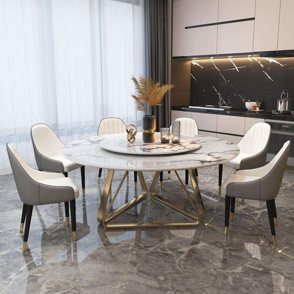 Italian light luxury marble round Nordic dining table with turntable modern minimalist dining table - Gustobene