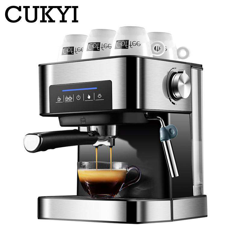 CUKYI Espresso Coffee Machine 20 Bars pressure with vaporizer for milk foam semi automatic maker Cup-warming plate kitchen tools - Gustobene