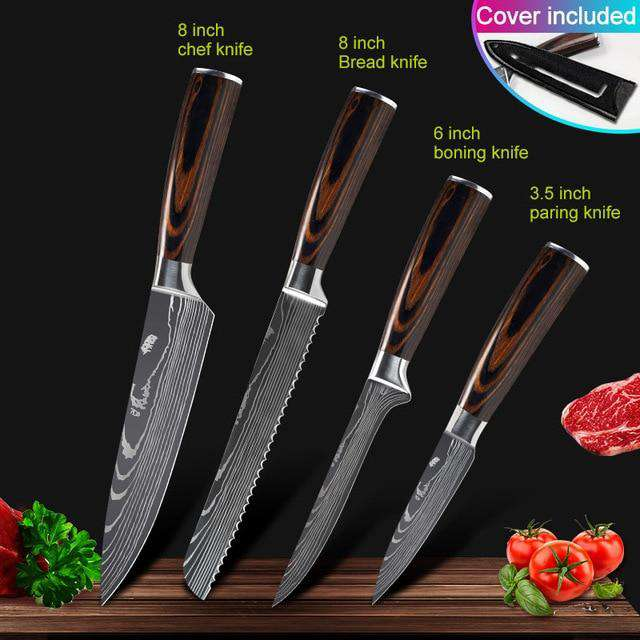 Kitchen knives Set Professional Chef Knives Japanese 7CR17 440C High Carbon Stainless Steel Imitation Damascus Pattern Knife Set