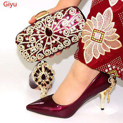 doershow wine Shoe and Matching Bag Set African Shoes and Matching Bags Italian Matching Shoes and Bags for ladyPartys!SYT1-6 - Gustobene