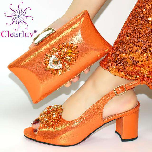 Latest ORANGE Shoe Italian Shoe and Bag Set for Party In Women Wedding Shoes Bride Cristal High Quality African Wedding Shoes