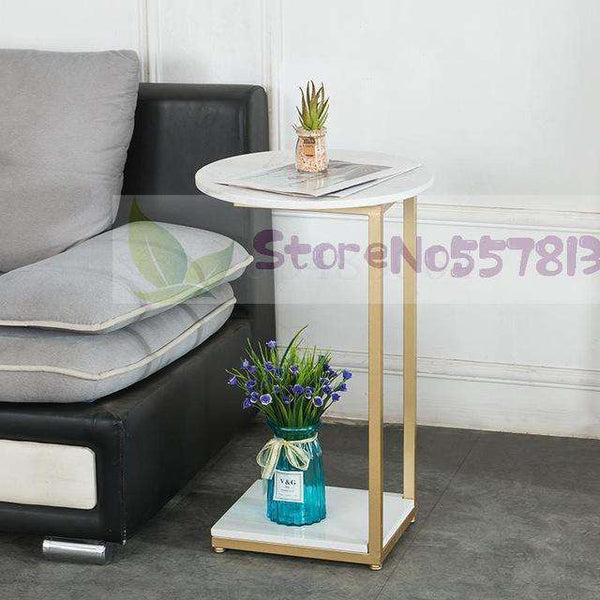 Italian Light Luxury Side Table Sofa Marble Simple Iron Corner Table Living Room Nordic Small Coffee Table Side Table Removable - Gustobene
