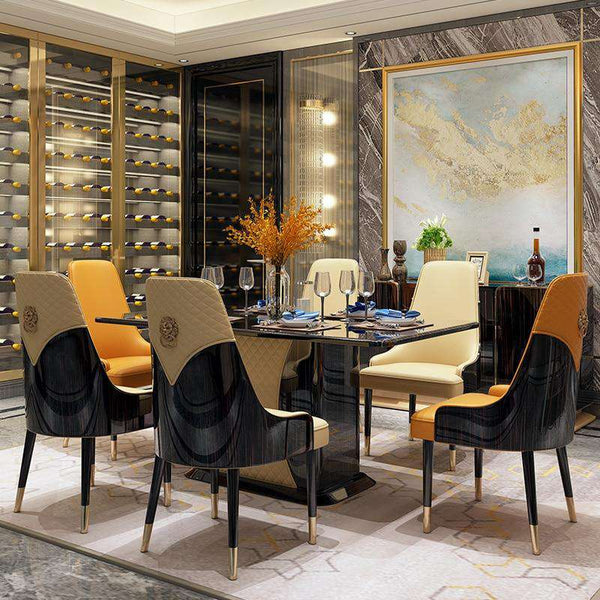 luxury Style Dining Table And Chair Home Dining Table  Modern Italian Restaurant Wooden Simple Table  With 6 Chairs - Gustobene