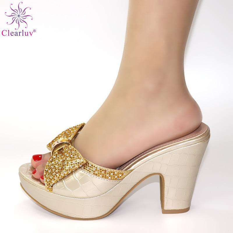 Wedding Bridal Peep Toe Gold Women Shoe Italian shoes African shoes without bag set Comfortable Women Shoes For Parties