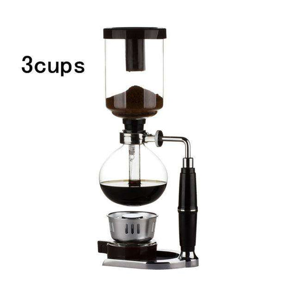 New Home Style Siphon coffee maker Tea Siphon pot vacuum coffeemaker glass type coffee machine filter 3cup 5cup