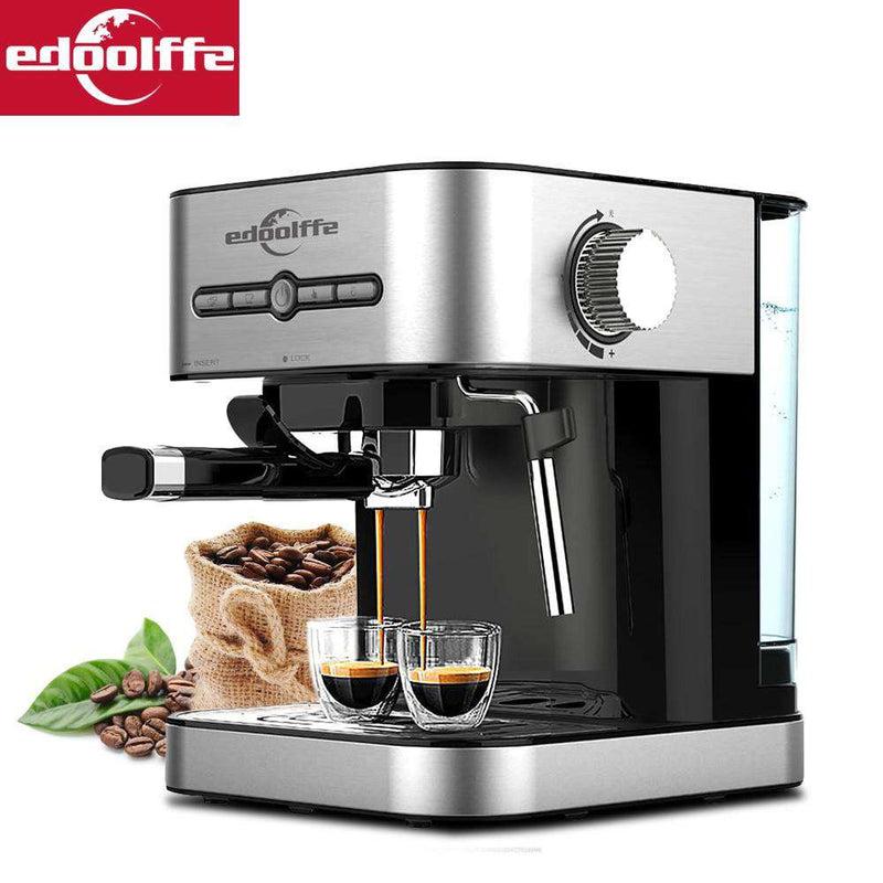 Edoolffe  espresso coffee machine Built-In milk frother 15Bar Coffee Makers 1050W cappuccino machine   automatic coffee machine - Gustobene