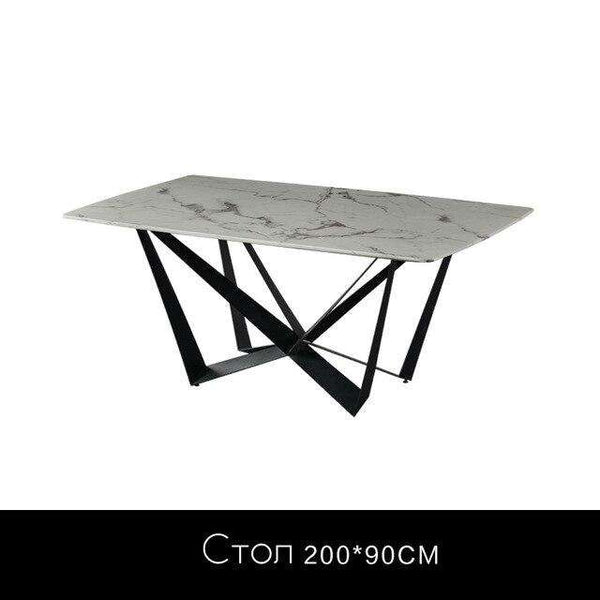 Marble dining table Italian minimalist light luxury one table four chairs modern simple wrought iron dining table combination - Gustobene