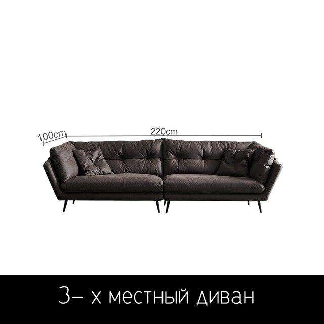 Cloth sofa small apartment Nordic modern minimalist down latex straight line Italian minimalist sofa - Gustobene