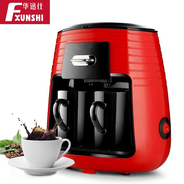 FXUNSHI Mini Two Cup  Household American Drip Coffee Maker Italian Semi-automatic Portable Espresso Brewing Tea Coffee Machine - Gustobene