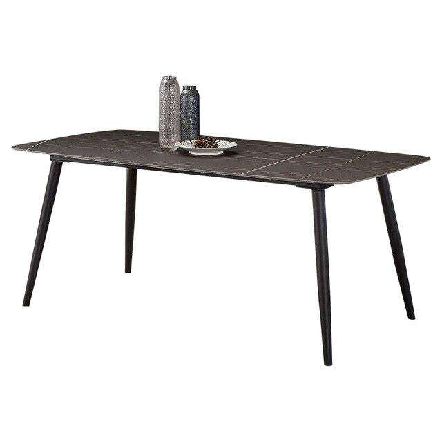 Nordic imported rock slab dining table rectangular minimalist home modern Italian marble dining table - Gustobene