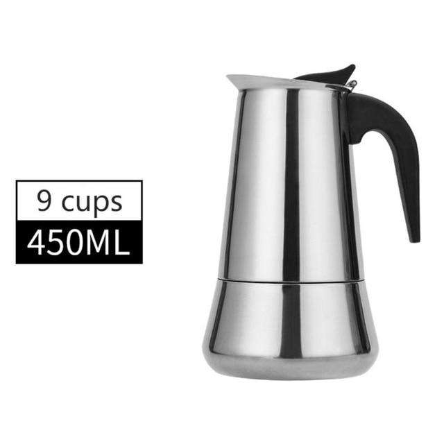 100/400/600ml Coffee Pot Maker Italian Top Moka Espresso Cafeteira Expresso Percolator Stainless Steel Stovetop Induction Cooker - Gustobene