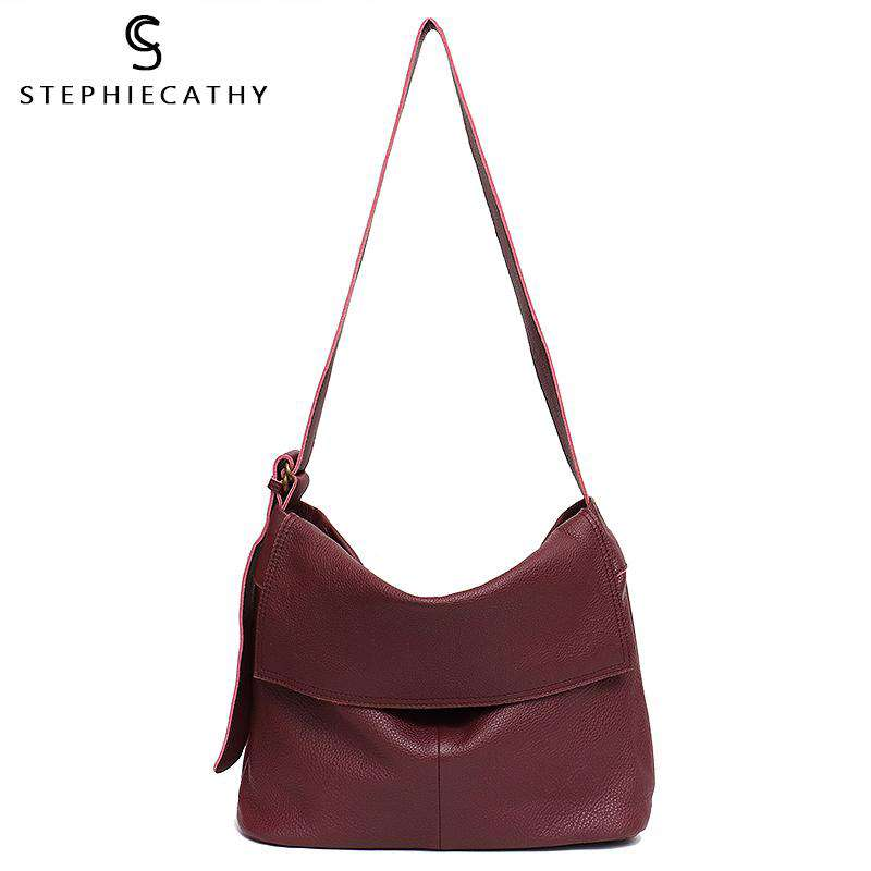 SC High Quality Italian Leather Messenger Bag Women Casual Flap Shoulder Bag Ladies Luxury Leather Handbag Femal Large Crossbody