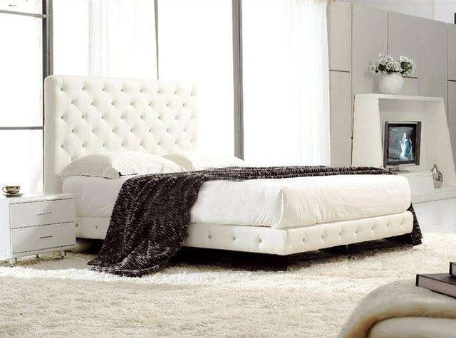 Upholstered Leather Italian Bed - Gustobene