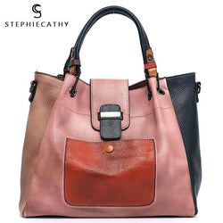 SC Retro Color Leather Patchwork Shoulder Bag Ladies Italian Leather Hobo Women Vintage Tote Female Crossbody&Messenger HandBag - Gustobene