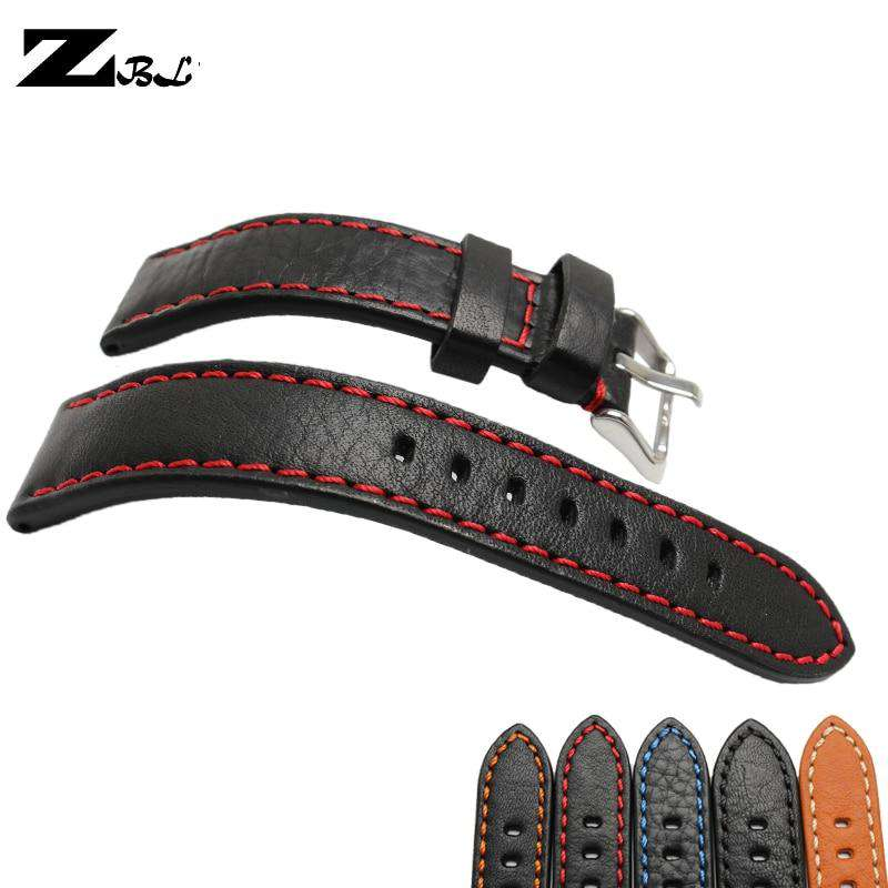 Italian cowhide watch leather strap 20mm 22mm 24mm watch strap genuine leather watch band stitched wristband watch accessories - Gustobene