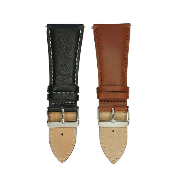 32mm Watch Band Strap Black Brown Big Large Size Italian Calf Genuine Leather Watchband Silver Stainless Steel Buckle for Men - Gustobene