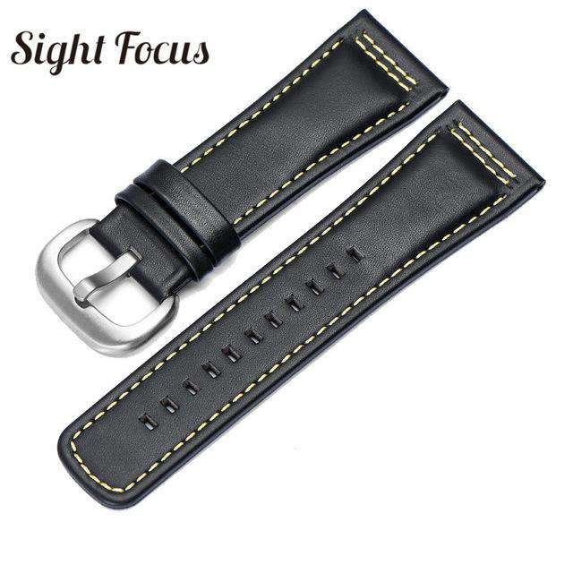 28mm Italian Calfskin Leather Watch Band for Seven Friday P1|P2 Black Belt Pin Buckle Replacement Watch Strap for Men Bracelet - Gustobene