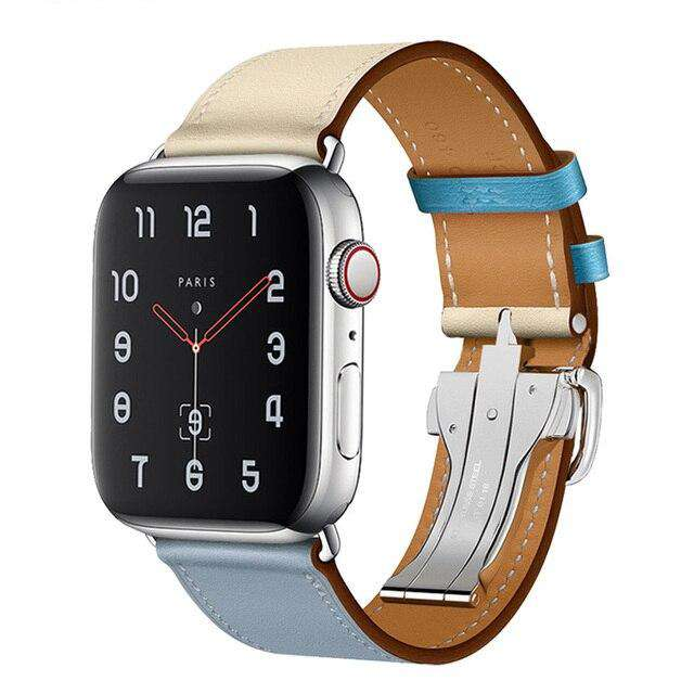 Italian Genuine Leather Watchband for iWatch Apple Watch 5 4 3 2 38mm 40mm 42mm 44mm Steel Butterfly Clasp Band Wrist Strap Belt - Gustobene