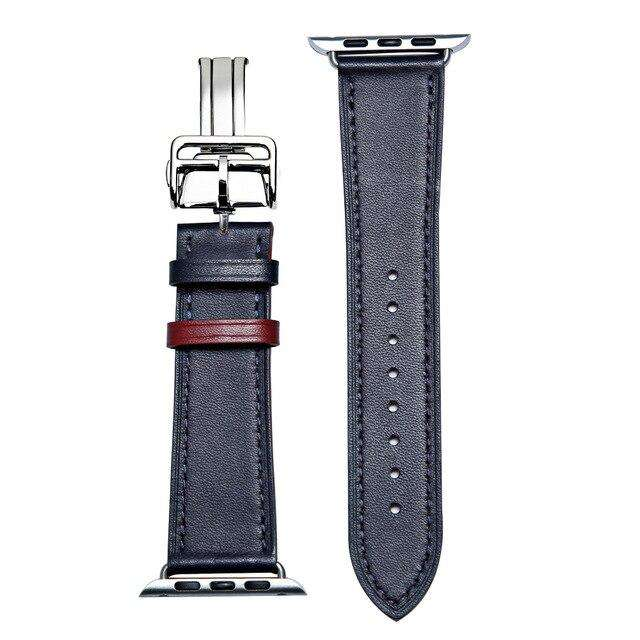 Italian Genuine Leather Watchband for iWatch Apple Watch 5 4 3 2 38mm 40mm 42mm 44mm Steel Butterfly Clasp Band Wrist Strap Belt
