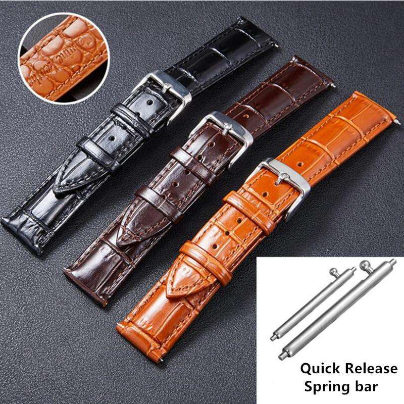 Italian Vintage Genuine Leather Watchband 22mm for Samsung Gear S3 Galaxy Watch 46mm Quick Release Band Steel Buckle Wrist Strap