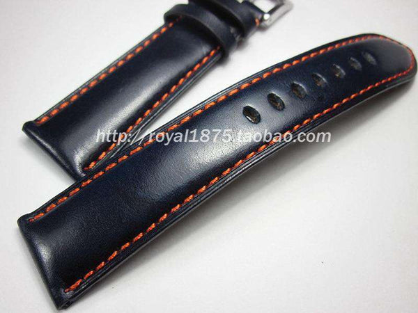 2020 new 23mm Italian Calf Leather deep blue Watch Band Handmade for CITIZEN AT9010-52E/AT9016-56H AT9037 high quality Wristband - Gustobene
