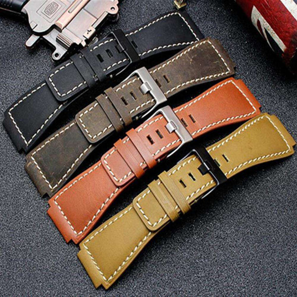 34*24mm Convex End Italian Calfskin Leather Watch Band For Bell Series BR01 BR03 Strap Watchband Bracelet Belt Ross Rubber Man - Gustobene