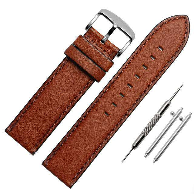 Italian leather watch belt Straight End Watch Band Women 4 Color Strap High Quality Leather Men's vintage watch chain 20 22mm - Gustobene