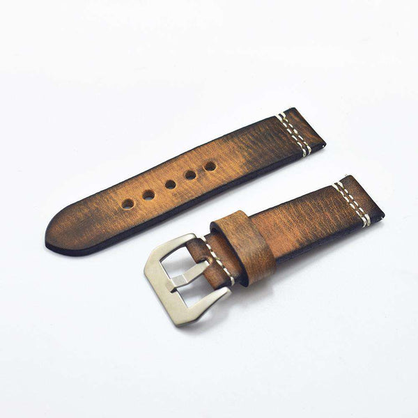 20mm 22mm 24mm 26mm Handmade Italian Brown Vintage Genuine Leather Watch Band Strap for pan Men Watchband Strap for PAM - Gustobene