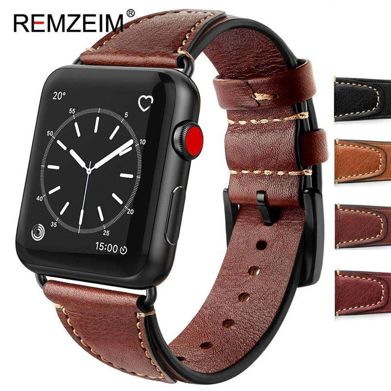 Italian oil wax leather strap for apple watch band 42 38mm Genuine leather watchband for iwatch 44 40mm 5/4/3/2/1 bracelet
