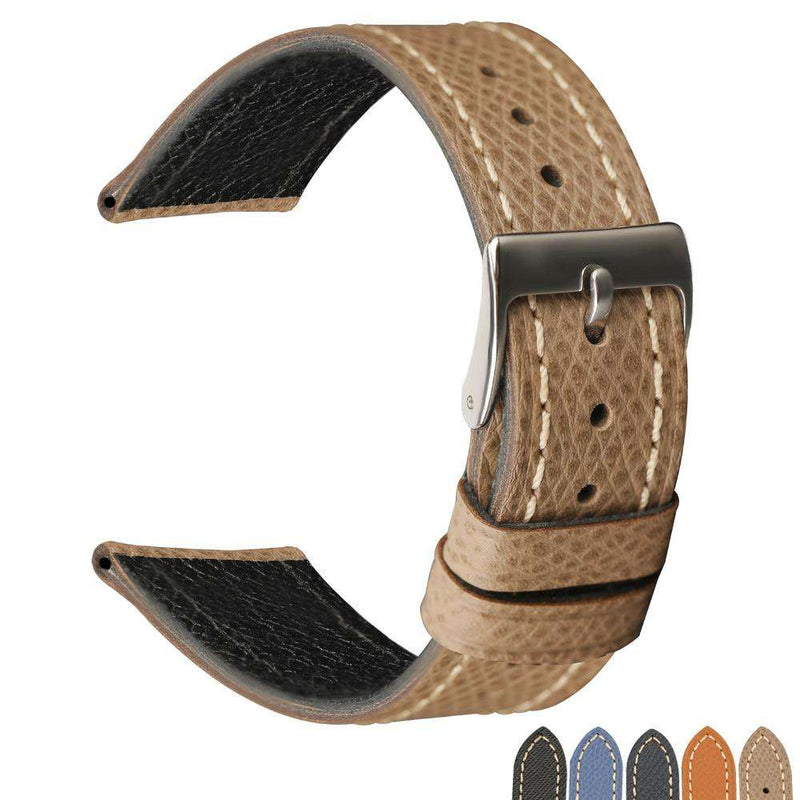 Italian palm pattern leather watchband 18 19 20MM, epsom leather and men's leather strap, retro leather strap - Gustobene