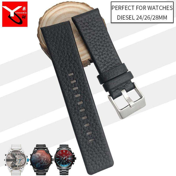 24mm 26mm 28mm Italian Cowhide Watch Strap Needle Buckle Soft Leather Watchband Suitable for Diesel Watch DZ7313 DZ7322 DZ7257 - Gustobene